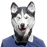 Halloween Husky Siberiano Perro/Husky Máscara De Látex Novedad Disfraz Fiesta Disfraces Máscaras De Animales Encantador Animal Cabeza De Perro Máscara,Husky