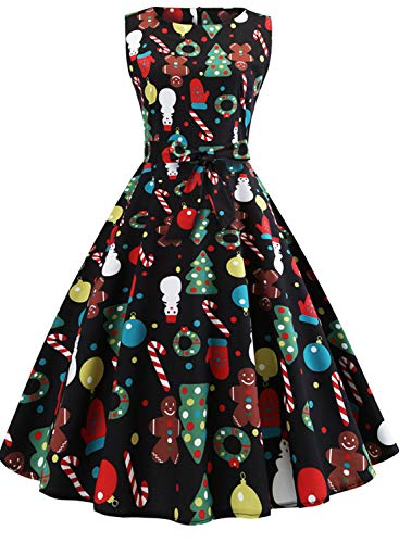 Chrismtas Dresses for Women Sleeveless Vintage Cocktail Dress Funny Printed Birthday Holiday Swing Party Dress