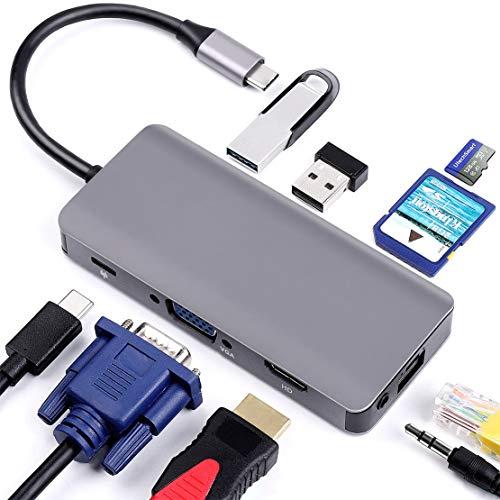 USB C Hub 9 en 1 Adaptador Tipo C con HDMI VGA USB C PD Ethernet RJ45 2 USB 3.0 Micro SD/TF Audio para Macbook Pro 2016-2019 y más Dispositivos USB C,Gray