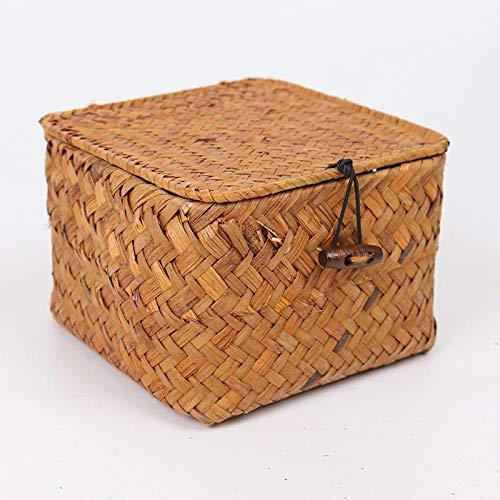 B/H Cajas de Almacenaje Cubos,Caja de Almacenamiento de Algas Hecha a Mano Caja de Almacenamiento Cuadrada para artículos Diversos con Tapa-Miel Color_Medium