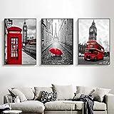 Leinwandbild mit rotem Bus, Paris Londoner Telefonzelle,