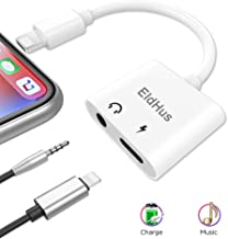 EldHus 3.5mm Adapter & Splitter Replacement Compatible with Phone 7, 7Plus, 8, 8Plus, X, 2 in 1 Headphone Jack Aux Audio Music and Charge and Calling and Sync Cable Charger Connector