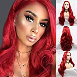 Karrissa Hair Red Lace Front Wigs for Women Pastel Red Long Natural Straight Synthetic Wig With Baby Hair Middle Parting Wave Hair Hot Red Wigs for Costume Halloween Makeup 26inch
