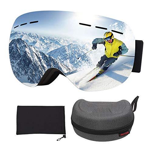 JNUYISW Gafas de esquí, Gafas Protectoras Lente esférica de, Gafas de Snowboard OTG a Prueba de Viento UV400 Antivaho y antirreflejo para Hombres para Hombres Mujeres jóvenes Adultos (Plateado)