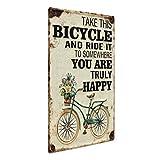 Photolini Cartel de Chapa Vintage Happy 30x40 cm Cartel de Metal Retro Lema Bicicleta Tipografía Cartel de Nostalgia