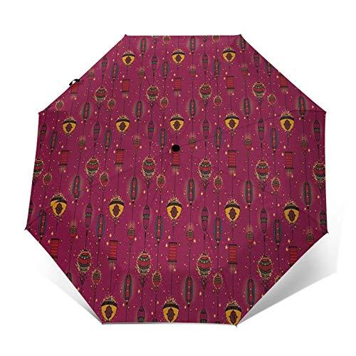 Regenschirm Taschenschirm Kompakter Falt-Regenschirm, Winddichter, Auf-Zu-Automatik, Verstärktes Dach, Ergonomischer Griff, Schirm-Tasche, Laterne 25