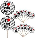 I Love Atletico Madrid – Alimento para fiestas – Cupcakes – Palillos – Banderas de alimentos – Decoraciones de pie (14 unidades)