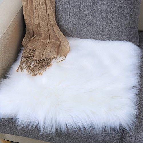 Junovo Premium Soft Square Faux Fur Seat Cushion Plush Sheepskin Chair Cover, 20 in x 20 in White