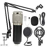 Suspensión BM800 Profesional Kit de micrófono en Vivo Estudio de Difusión de grabación Micrófono Condensador Set para Podcast Grabación Entrevista (Color : Black+Silver)