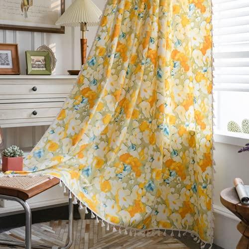 1 pezzo di fiori gialli tende per finestra semi-oscurante per soggiorno camera da letto, stile gancio 59 'W x 118' L (150x300 cm)