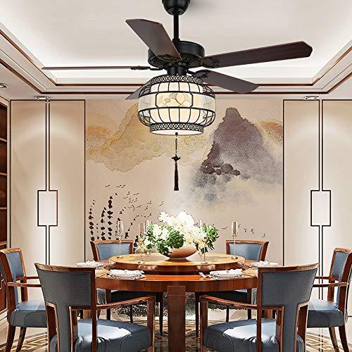 Retro Simplicity Fan Electric, estilo chino LED Araña del ventilador de techo, iluminación de techo, Luz colgante del dormitorio, Sala de estar, Lámpara colgante moderna, Diámetro 52in, Altura23.6