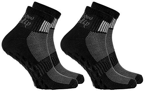 2 pares de calcetines Antideslizantes Negros ABS ideal para los Deportes Yoga, Fitness, Pilates, Artes Marciales, Danza, Gimnasia, Trampolín Tamaños 39-41, Algodón Respirable, comodidad para los pies