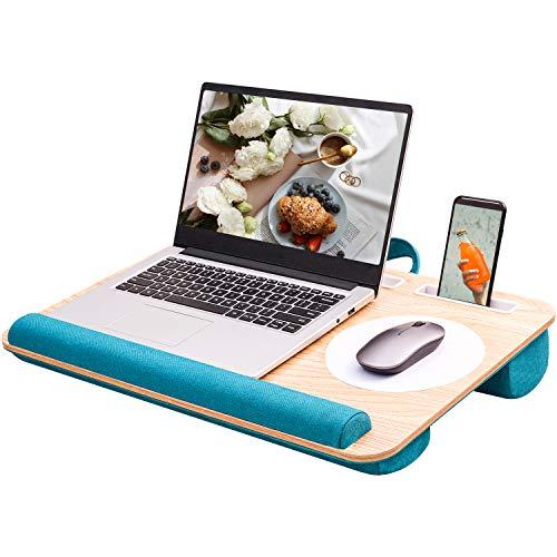 Rentliv Laptopunterlage -Tragebar Laptop Tisch mit Kissen Mausunterlage Stift Tablett Telefon Halter passt auf bis zu 17 Zoll Laptops für Bett Sofa Home Office Studenten -Grün