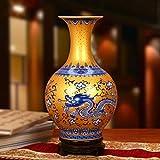 Jarrón de cerámica Florero de cerámica Esmalte de Alto Grado Oro Azul y Blanco Florero de dragón de Tengxiang Decoración Moderna del hogar Chino (con Base)