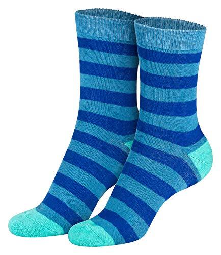 Piarini 2 Paar Kindersocken geringelt bunt Vollfrottee Jungen Mädchen Weiche Kinderstrümpfe Kids Boys Girls Socks jeans türkis 27 28 29 30