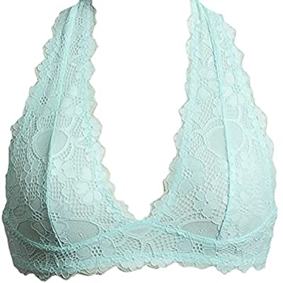 Marilyn & Main Women's Scalloped Lace Halter Bralette (Large, Mint)