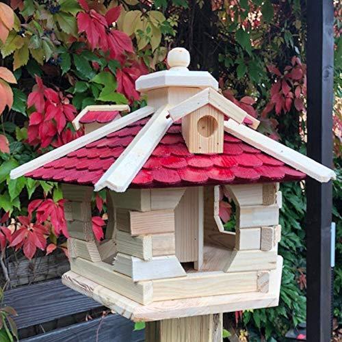 Darlux Vogel Futter Haus L Futterstelle Sechseck aus Holz Vogelhaus Natur/Rot