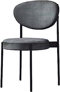 Sillas de Comedor [Juego de 4] Sillas Laterales tapizadas de Tela de Terciopelo Gris Ocio para Cocina Sala de Estar Dormitorio Oficina, Patas de Metal Negro Sillas para Invitados