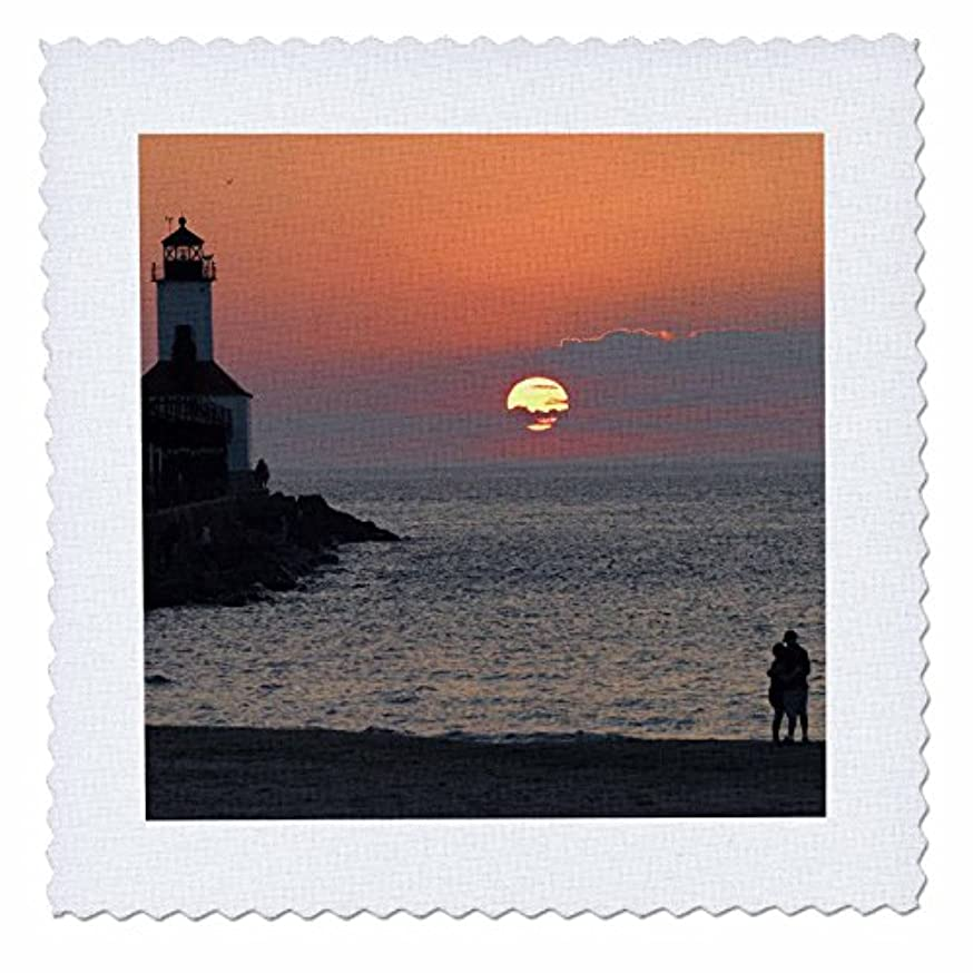 3dRose qs_90251_3 USA, Indiana, Indiana Dunes State Park Lighthouse - US15 AMI0246 - Anna Miller - Quilt Square, 8 by 8-Inch