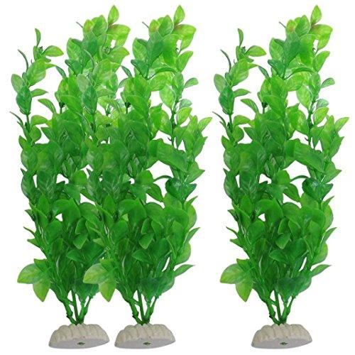 WalshK 3 piezas de acuario de peces de tanque Plantas artificiales de plástico verde 10.6 'de altura