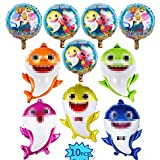 10 PCS Shark Helium Balloons,Shark Family Foil Balloons for Shark Theme Party Supplies/Baby Birthday, Baby Shower Children Birthday Party Decorations