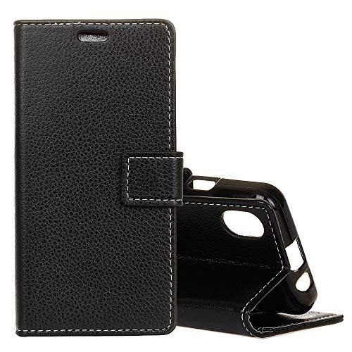 SGJFZD Funda protectora de cuero para iPhone XR Business horizontal Flip Funda de cuero con tarjetero y ranuras (color negro)