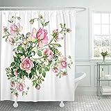 Tenda per doccia in Tessuto con ganci Fiore Rosa Acquerello con bocciolo di Rosa Bouquet di Rose con boccioli Colorato Floreale Astratto Extra Lungo Decorativo Bagno Inodore Eco Friendly