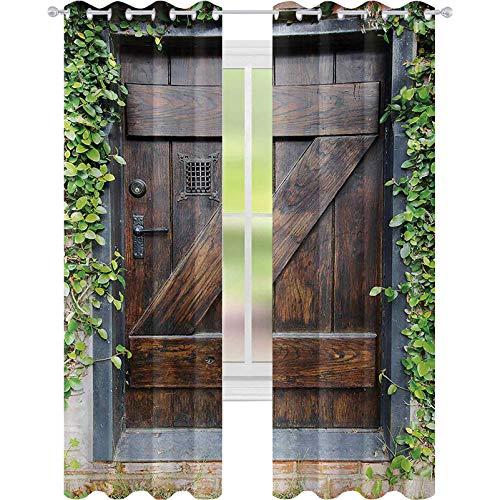 Cortinas aisladas térmicas, pequeñas de estilo español, puerta de madera oscura, jardín secreto con ventana rallada, cortinas opacas de 52 x 72 cm de ancho para dormitorio, marrón y verde