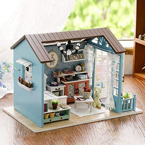 Cafopgrill Miniaturas de Madera en 3D Casa de muñecas Juguetes DIY Casa Kit para niños Regalos de cumpleaños(Mori Blue Time Without Battery)