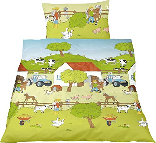 Bierbaum Kinder Renforce Bettwäsche 2 TLG. 100x135cm Bauernhof Tiere
