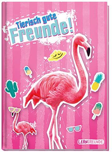 Freundebuch Schule für Jungs und Mädchen [Flamingo] Hardcover Poesiealbum, liebevoll und witzig gestaltet - von Lernfreunde by Häfft | nachhaltig & klimaneutral