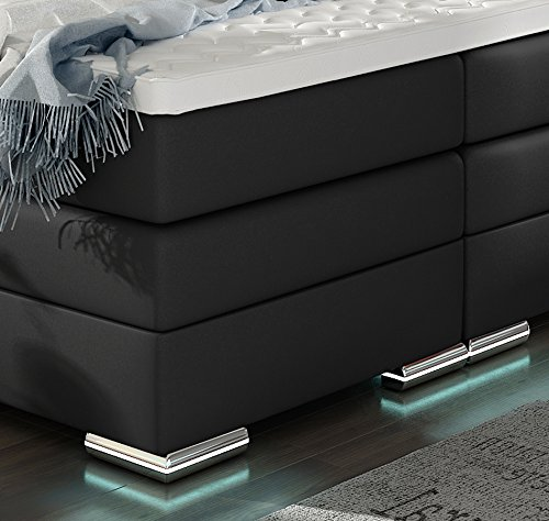 XXL ROMA Boxspringbett mit Bettkasten Designer Boxspring Bett LED Nachtschwarz Rechteck Design (Nachtschwarz, 180x200cm) - 5