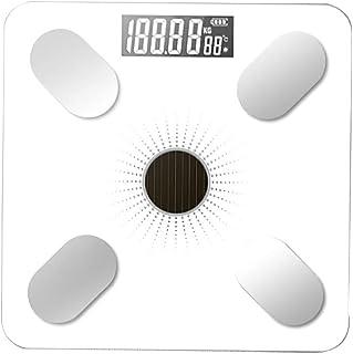Báscula de peso de baño digital para suelo, balanza de grasa corporal, Bluetooth, electrónica, al aire libre, minianalizador de pesaje inteligente (color: blanco)