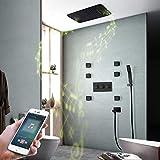 Angel&H Sistema de Ducha de Música LED, Cabezal de Ducha de Lluvia Termostático de Pulverización Superior, con 6 Duchas SPA Body Jets, Control Tactil
