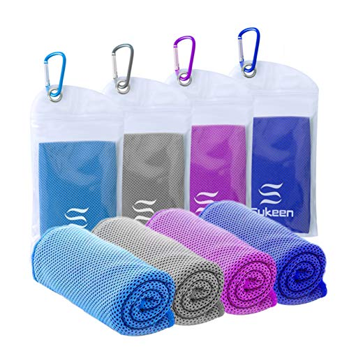 """[4 Pack] Cooling Towel (40""""x12""""),Ice Towel,Soft Breathable Chilly Towel,Microfiber Towel for Yoga,Sport,Running,Gym,Workout,Camping,Fitness,Workout & More Activities"""