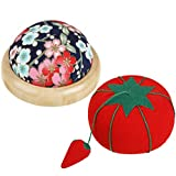 2 Pieces Wrist Pin Cushion Wooden Base Tomato Pincushion Wearable Needle Pincushions for S...