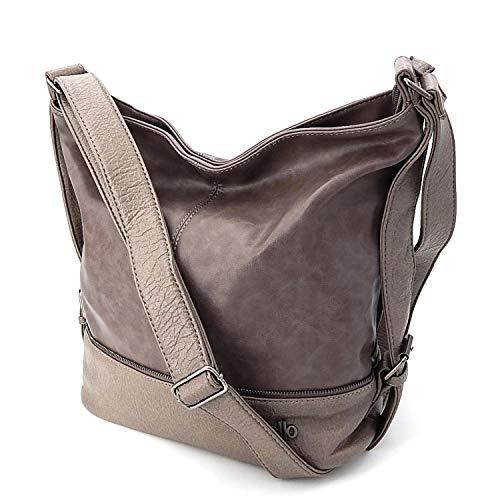 ekavale Schultertasche für Frauen – Damen Umhängetasche - Handtasche Groß Shopper Lederimitat (Taupe)