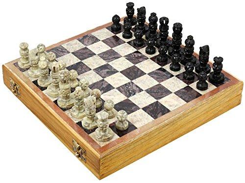 Ajuny Juego de ajedrez artístico de Piedra único bellamente elaborado