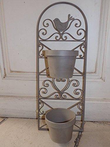Jardin D'Ulysse - Support Métal Taupe 1 Oiseau pour 2 Caches Pots Jardin D'Ulysse
