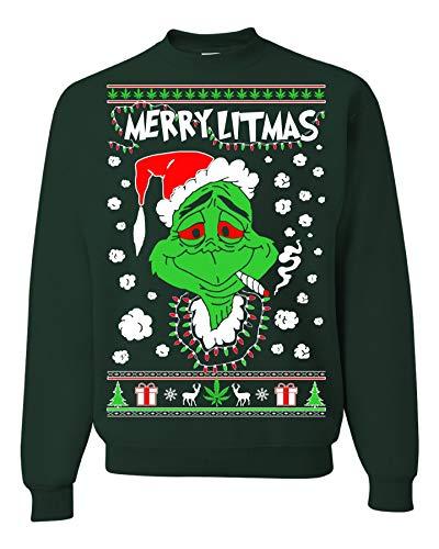 Merry Litmas The Grinch Christmas Sweatshirt, Funny Christmas Sweatshirts, Grinch Christmas Sweater (M Forest Green)