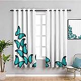 Cortinas opacas para ventana, diseño de mariposas, color turquesa