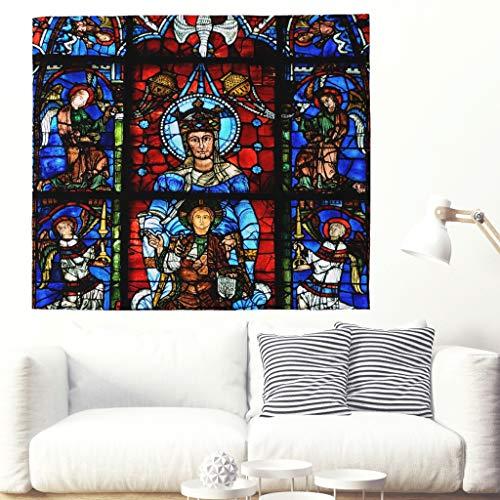 Notre Dame de la Belle Verriere Fenster Chartres Wandteppich Bunte Kathedrale Chartres Frankreich Wandbehang Tapisserie Gotische Europa Folklore Wanddecke Wohnheim Wanddekor white 200x150cm