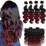 Ombre Brazilian Hair Body Wave Bundles 18 16 14 12, Ombre Brazilian Virgin Hair Human Hair Weave Two Tone Black to Burgundy (T1B/99J, 12 14 16 18)