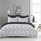 Morbido Conjunto de cubierta de edredón a cuadros simple 2 / 3pc Impresión geométrica de lujo de lujo y negro Conjunto de ropa de cama conjuntos de almohada Cubierta de acolchado 200x200 King para la