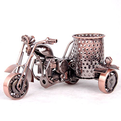 Motorcycle Pencil Holder,Metal Motorcycle Pen Holder,Creative Office Cool Desk Accessories Decorative Gift (Copper)