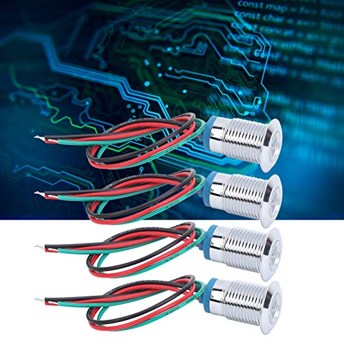 Indicador de metal LED de 4 juegos, indicador de señal de metal impermeable IP66 Lámpara de señal impermeable DC12V Lámpara de luz(Red green, Pisa Leaning Tower Type)