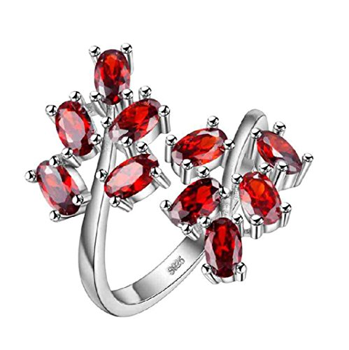 Uloveido Oval Cut Red Tree Leaf einstellbar breiter Cocktail-Ring für Frauen, Geburt-Stein-Ring, Fashion Engagement Hochzeit Versprechen Ring für Frauen Mädchen J681-Rot