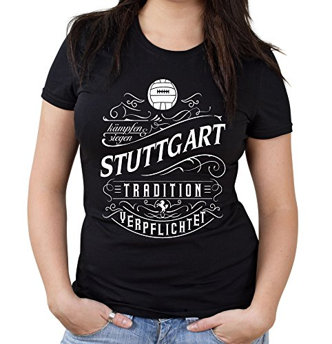 uglyshirt87 Mein Leben Stuttgart Girlie Shirt | Vrije tijd | Hobby | Sport | Spreuken | Voetbal | Stad | Vrouwen | Fan | M1 Front