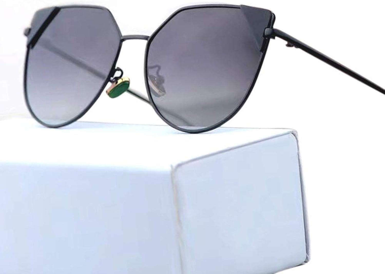 Women's Fashion Metal Polarized Sunglasses for Driving Trave Sunglassesl (color   Black Grey)