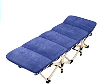 Loungers Folding Bed Single Bed Adult Adult Bed Napping Recliner Office Simple Folding Bed Camping Bed (Color : Blue, Size : 190 * 71 * 36 cm)